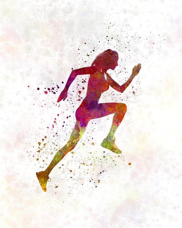 woman running painting